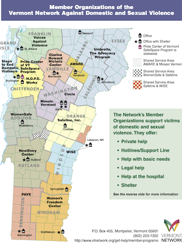 map of vermont with vermont network organizations